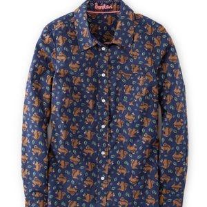 BODEN | squirrel print button front blouse shirt